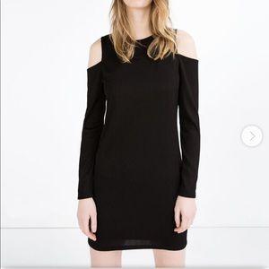 Zara Black ribbed cold shoulder mini dress medium
